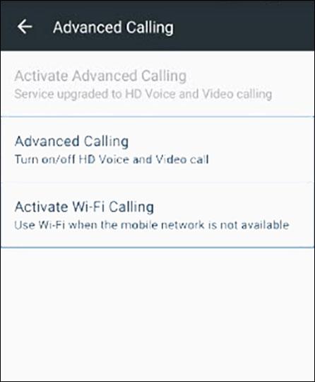 Activar Llamadas Wi-Fi