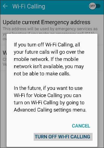 Turn off Wi-Fi Calling