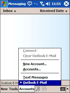 Account menu with Outlook E-Mail selected=
