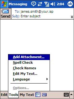 Tools menu with Add Attachment selected=