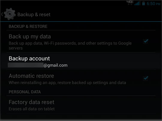 Backup & Reset select Backup account