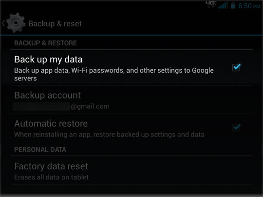 Backup & Reset select Backup up my data