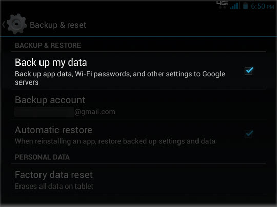 Select Back up my data