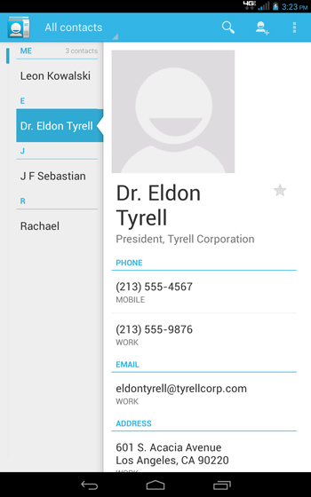 People / Contacts List select a contact