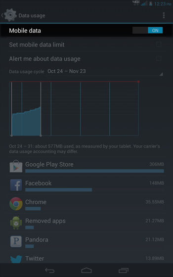 Data usage select Mobile data