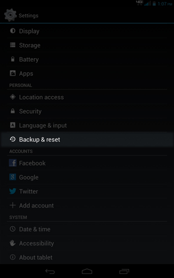 Settings select Backup & reset