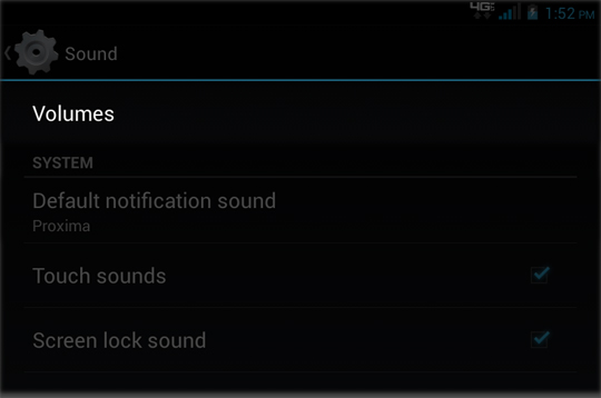 Sound Settings select Volumes
