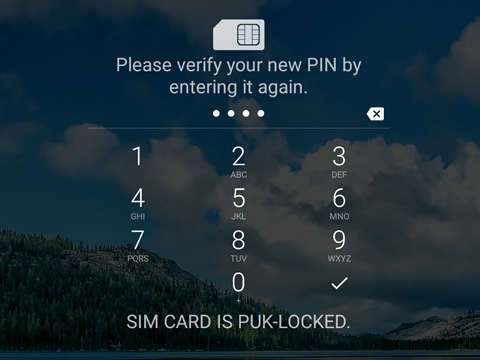Confirm new PIN screen