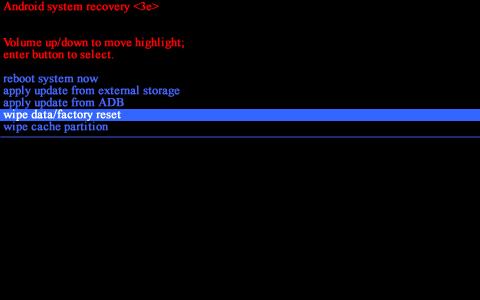 Android system recovery screen with wipe data/factory reset