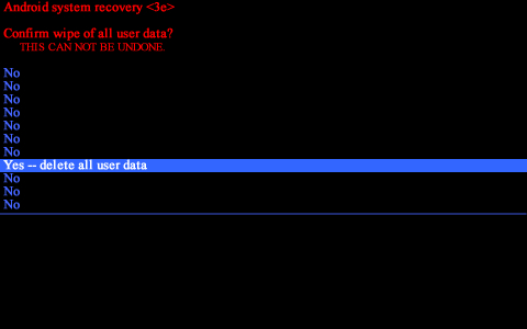 Android system recovery screen with Yes, delete all user data