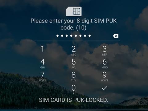 Enter PUK screen