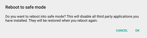 Reboot to safe mode prompt with OK