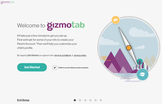 GizmoTab welcome screen
