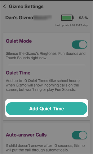 Set quiet time on app
