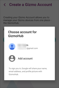 sign in gizmo screen with google