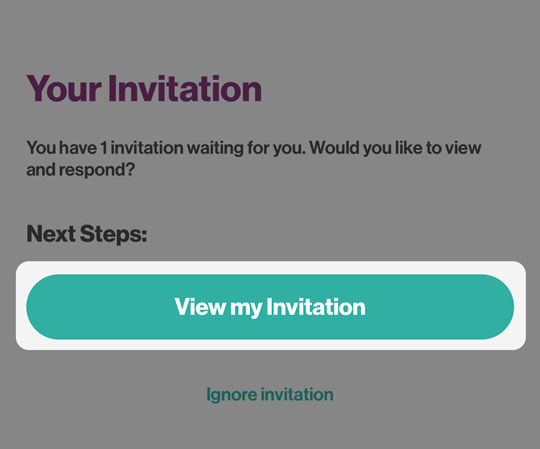 Your Invitation screen