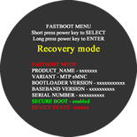 Fastboot Menu with Recovery mode