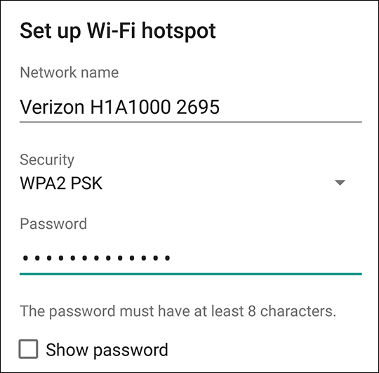 Mobile hotspot password screen