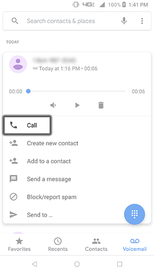 Voicemail Place Callback
