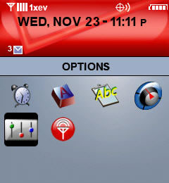 BlackBerry Settings screen with Options selected=