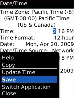 Date / Time screen with Save highlighted