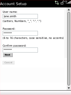 Account Setup screen with User name, Password, and Confirm password fields highlighted