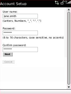 Pantalla Account Setup con los campos User name, Password y Confirm password seleccionados