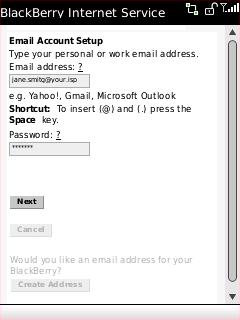 Pantalla de configuración de la cuenta de email con los campos de dirección de correo electrónico y contraseña seleccionados