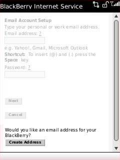 Email Account Setup screen with Create Address highlighted