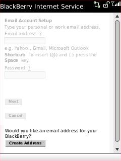 Pantalla Email Account Setup con Create Address seleccionado