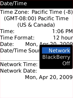 Date / Time screen with Network option highlighted