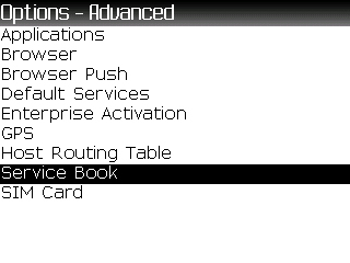 Advanced options screen with Service Book highlighted