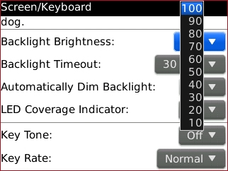 Screen / Keyboard screen with desired setting highlighted