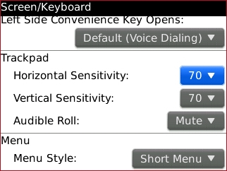 trackpad settings with Horizontal Sensitivity