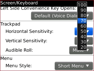 Horizontal Sensitivity setting select
