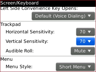 trackpad settings with Vertical Sensitivity