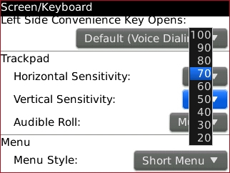 Vertical Sensitivity setting select