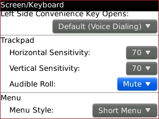 trackpad settings with Audible Roll