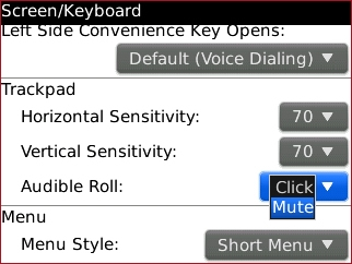 Audible Roll setting select