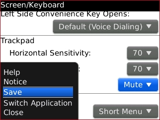 screen/keyboard settings save