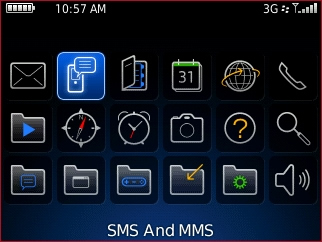 applications screen with sms and mms