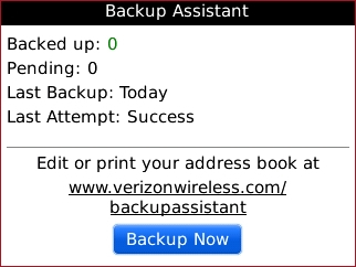 Backup Assistant with Backup Now