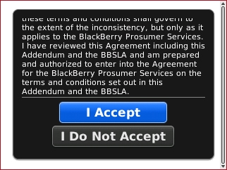 End User Agreement screen with I Accept