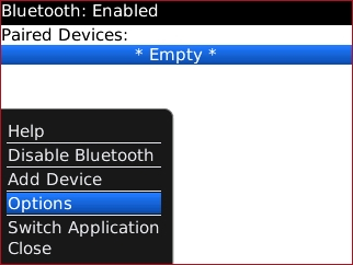 Bluetooth options menu with Options