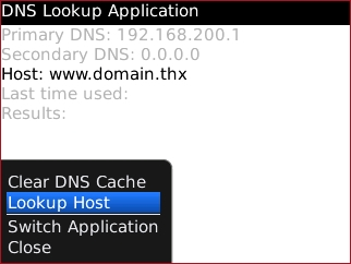 DNS Lookup menu with Lookup Host highlighted