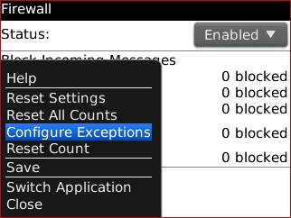 Firewall screen with Configure Exceptions highlighted