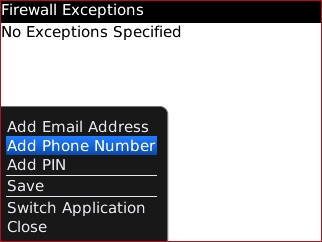 Pantalla Firewall Exceptions con Add Phone Number
