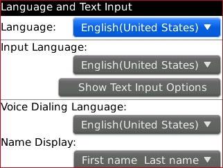 Language screen with desired option
