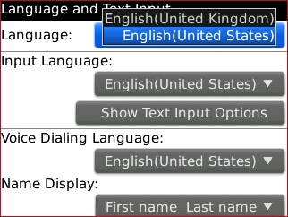 Language screen with desired setting