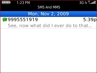 sms and mms screen with desired date highlighted
